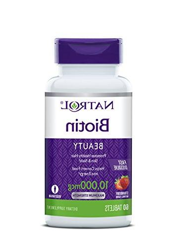 Natrol Fast Tablets, Strawberry flavor, 10,000mcg, 60 Count
